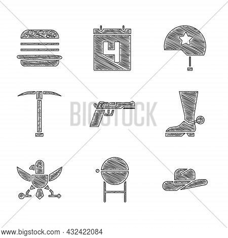 Set Pistol Or Gun, Barbecue Grill, Western Cowboy Hat, Cowboy Boot, Eagle, Pickaxe, Military Helmet