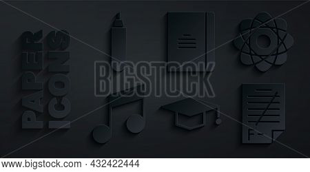 Set Graduation Cap, Atom, Music Note, Tone, Exam Paper With Incorrect Answers, Spiral Notebook And M