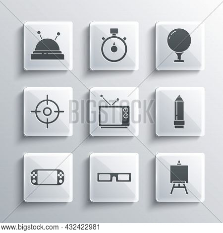 Set Cinema Glasses, Easel Or Painting Art Boards, Pencil With Eraser, Retro Tv, Portable Video Game