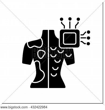 Ai In Medicine Glyph Icon. Microchip In Human Body.digital Technologies. Skin Cancer Diagnosis.ai Di