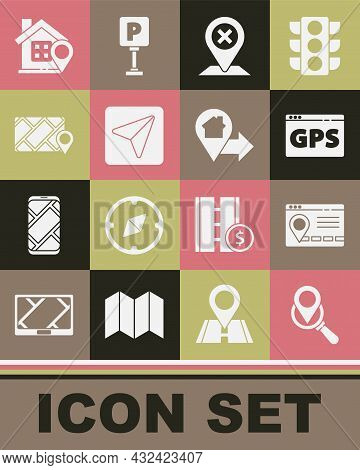 Set Search Location, Infographic Of City Map Navigation, Gps Device With, Location, City, House And