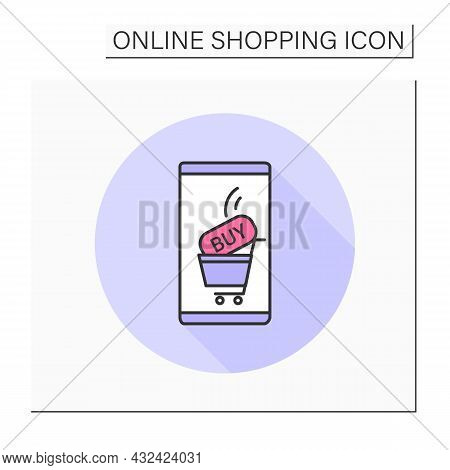 Buy Color Icon. Online, Mobile Shopping. Retail Store App Page On Smartphone. Business Marketing And