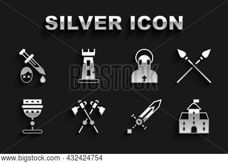 Set Crossed Medieval Axes, Spears, Castle, Fortress, Medieval Sword, Goblet, Monk, Sword With Blood