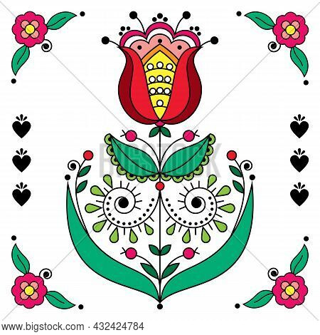 Scandinavian Folk Art Flower Vector Greeting Card Design With Flower And Coners, Retro Floral Patter