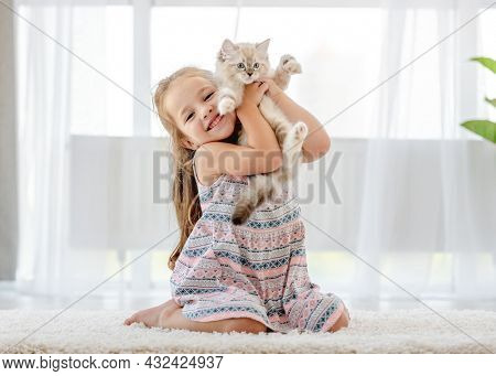 Little child girl holding ragdoll kitten and petting it. Pretty female kid happy with feline domestic kitty pet at home