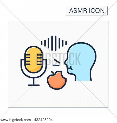Asmr Color Icon. Recording Eating Food On A High Frequency Microphone. Apple Crunching. Internet Tre