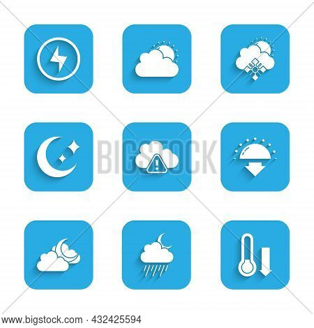 Set Storm Warning, Cloud With Rain And Moon, Meteorology Thermometer, Sunset, Moon Stars, Snow Sun A