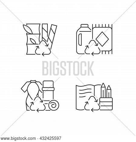 Reduce Environmental Pollution Linear Icons Set. Compostable Straws. Ethical Flooring Option. Custom