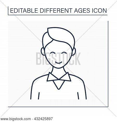 Early Adulthood Line Icon. Adult Man. Happy Young Male Person. Life Cycle. Different Ages Concept. I