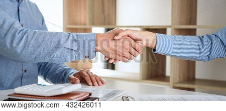 Greeting New Colleagues, Handshake While Job Interviewing, Male Candidate Shaking Hands With Intervi