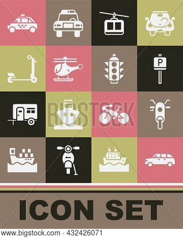 Set Hatchback Car, Scooter, Parking, Cable, Helicopter, Taxi And Traffic Light Icon. Vector
