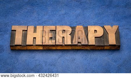therapy - word abstract in vintage letterpress wood type, health and healthcare concept