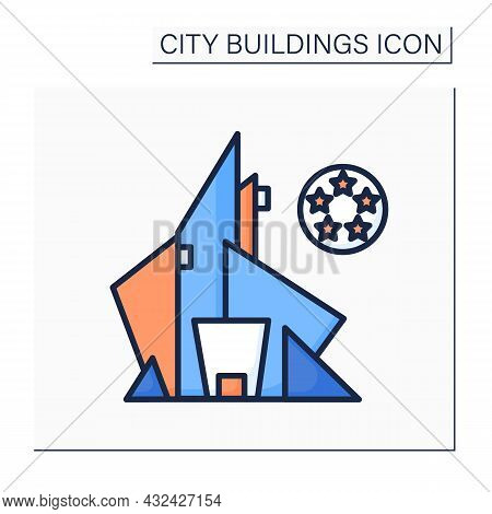 Hotel Color Icon. Luxury Inn Building With Five Star Rating. Concept Of High Class Tourist Lodging A
