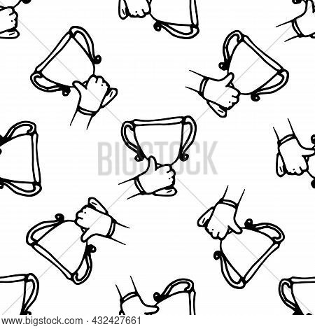 Vector Pattern Of A Drawing Of A Hand With A Raised Cup. Seamless Cup Pattern Hand-drawn In Doodle S