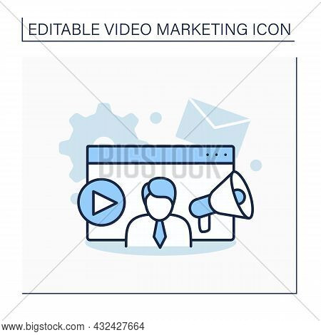 Online Course Line Icon. Learning System. Online Education Main Elements Of Marketing.create And Sha