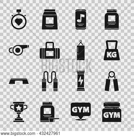 Set Sports Nutrition, Expander, Weight, Music Player, Bag, Whistle, Heart In The Center Stopwatch An