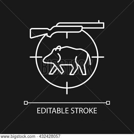 Wild Boar Hunting White Linear Icon For Dark Theme. Capture And Kill Wild Hog. Feral Peccary. Thin L