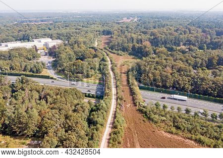 Aerial from ecoduct Laarderhoogt in the Netherlands