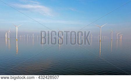 Aerial from windmills in the IJsselmeer at the Afsluitdijk in the Netherlands