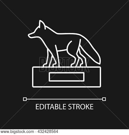 Taxidermy White Linear Icon For Dark Theme. Stuffing Wild Dead Animals. Animal Body Display. Thin Li