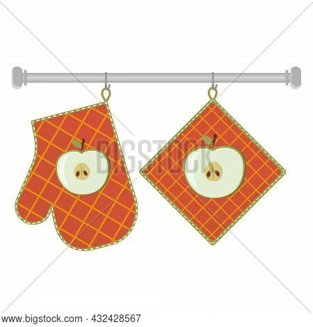 Oven Mitt And Oven Mitt Hanging On The Rack On Hooks, Color Isolated Vector Illustration In The Flat