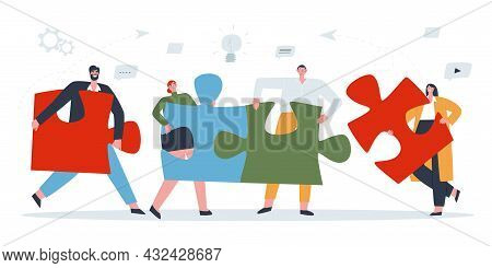 The Concept Of Teamwork. Four People Connect The Puzzle Pieces Into One . Flat Vector Illustration O
