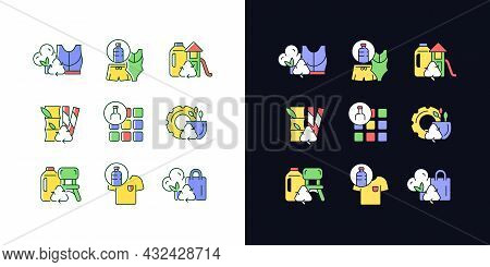 Natural Resources Conservation Light And Dark Theme Rgb Color Icons Set. Reuse Plastic Products. Zer