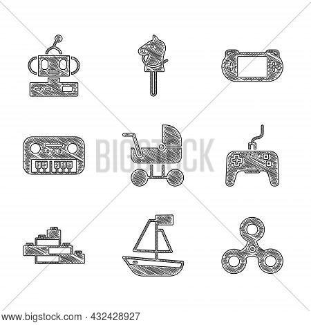 Set Baby Stroller, Toy Boat, Fidget Spinner, Gamepad, Building Block Bricks, Piano, Portable Video G