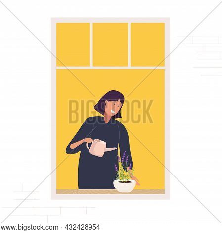 Woman With Watering Can Watering Flower On Window. Caucasian Girl At Open Window Takes Care Of Home