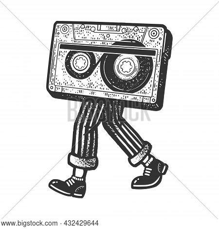 Audio Compact Cassette Tape Walks On Legs Sketch Engraving Vector Illustration. T-shirt Apparel Prin