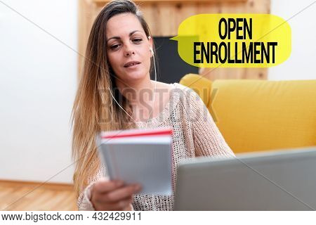 Inspiration Showing Sign Open Enrollment. Business Approach Policy Of Allowing Qualifying Students T