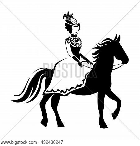A Beautiful And Elegant Girl In Retro Clothes Riding A Horse. 19th Century. Vector Illustration Of L