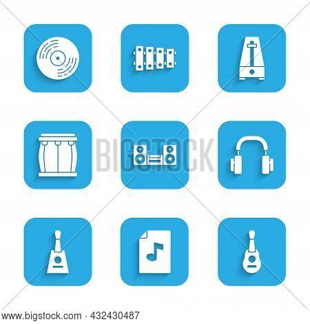 Set Home Stereo, Music Book With Note, Guitar, Headphones, Balalaika, Drum, Metronome Pendulum And V