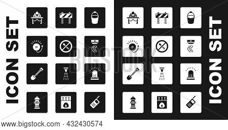 Set Fire Bucket, No Fire Match, Ringing Alarm Bell, Firefighter Helmet, Smoke System, Road Barrier,