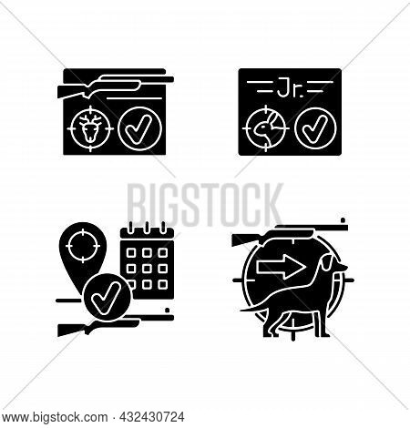 Hunting Regulations Black Glyph Icons Set On White Space. Resident And Junior Hunting License. Hunt