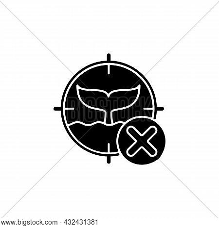 Illegal Whaling Black Glyph Icon. Commercial Whale Hunting. Unlawful Fishery. Illegal Trade And Poac