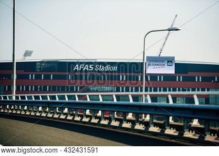 Alkmaar, Netherlands - Aug 27, 2019: View From The Highway Of The Afas Stadion Stadium In Alkmaar. D