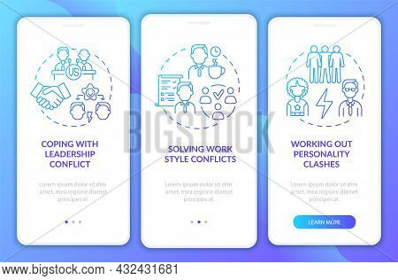 Team Conflicts Blue Gradient Onboarding Mobile App Page Screen. Work Relations Walkthrough 3 Steps G