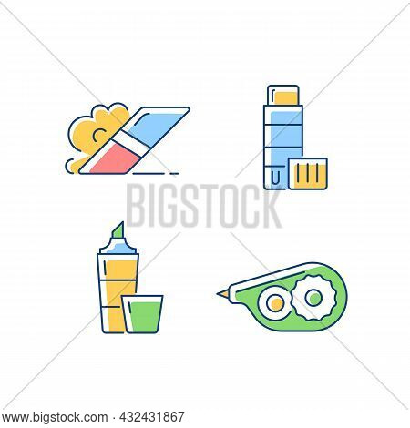School Accessories Rgb Color Icons Set. Eraser For Artistic Use. Glue Stick. Highlighter Marker. Cor