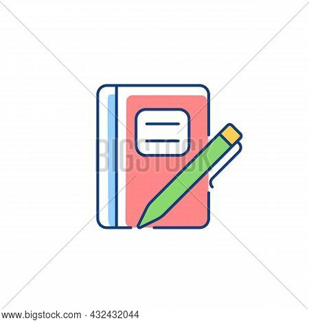 Graph Composition Notebook With Pen Rgb Color Icon. Assignment Book. Daily Use For School Notes Taki