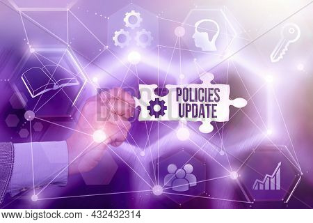 Conceptual Display Policies Update. Conceptual Photo Act Of Adding New Information Or Guidelines For