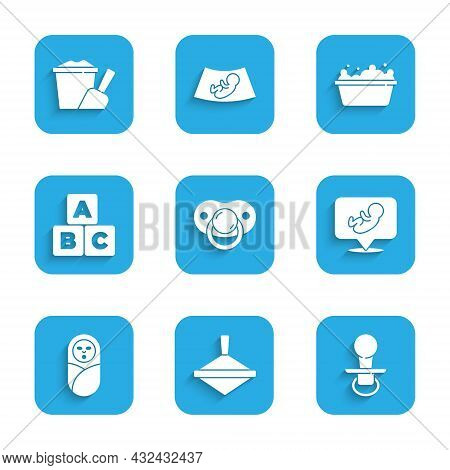 Set Baby Dummy Pacifier, Whirligig Toy, Newborn Baby Infant Swaddled, Abc Blocks, Bathtub And Sand B