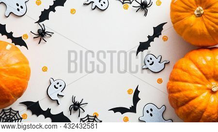 Cute Halloween Flat Lay Composition With Pumpkins, Ghosts, Bats, Spiders, Web On White Background. F