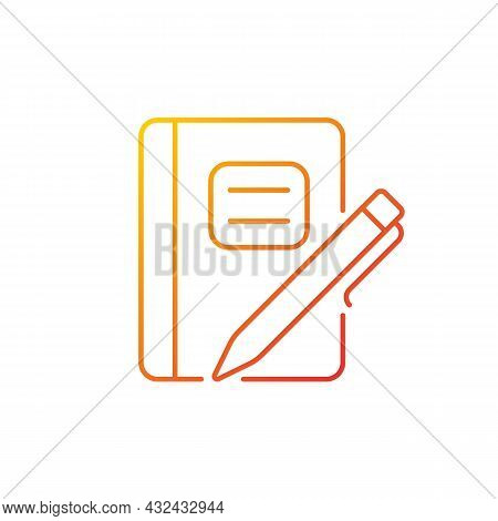 Graph Composition Notebook With Pen Gradient Linear Vector Icon. Assignment Book. Daily Use For Scho