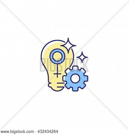 Fulfill Female Potential Rgb Color Icon. Feminist Activist. Raising Woman Status. Creating Opportuni