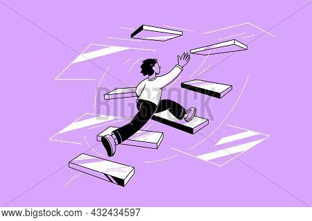 Character Running Up Stairs In Rush Vector Illustration. Person Catch Last Chance Flat Style. Career