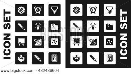 Set Medal, Light Bulb, Marker Pen, Basketball Ball, Document Folder With Clip, Alarm Clock, Music No