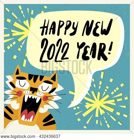 The Symbol Of 2022 Year, Tiger Says Happy New Year. Sparklers, Fireworks On The Background. Greeting