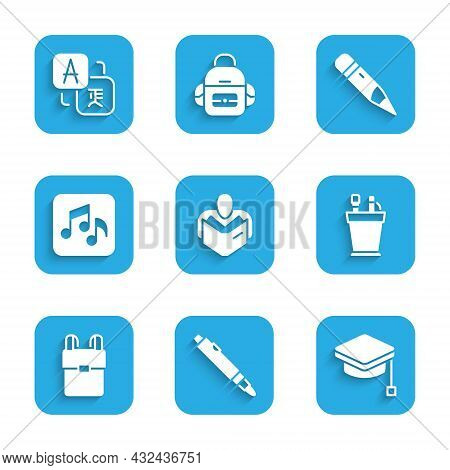 Set Man Reading Book, Marker Pen, Graduation Cap, Pencil Case Stationery, School Backpack, Music Not
