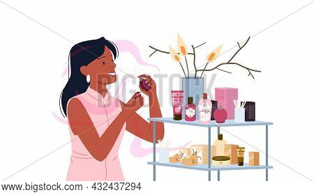 Girl Choosing Fashion Perfume From Assortment In Beauty Cosmetics Store, Applying Process